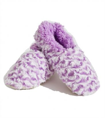 Purple Striped Ladies Small 3-4 Rose Textured Fur-Like Snoozies